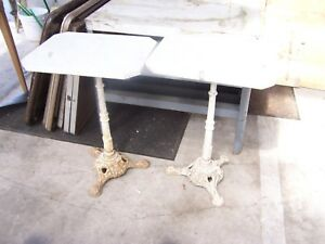 2 Antique French Bistro Tables Ornate Cast Iron Base Marble Top C 1890 S