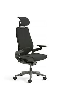 Steelcase Gesture Chair With Adjustable Headrest Lumbar Buzz2 Black Hard Floor