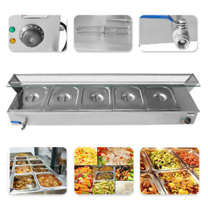 110v Commercial Food Warmer Steam Table Buffet Countertop 5 pan Bain marie