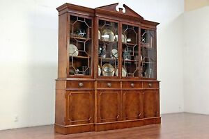 English Vintage Breakfront Bookcase Or China Cabinet Mahogany Burl 30009