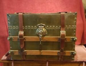 Beautiful Vintage Brass Wood And Leather Medium Size Trunk