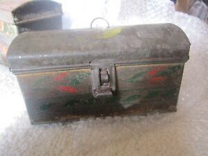 Antique American Tole Document Box 6 1 2 In Paint Decorated 19th C