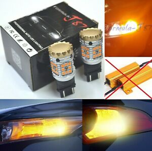 Hyper Flash Free Led Light 4157 Amber Orange Two Bulbs Front Turn Signal Drl Fit