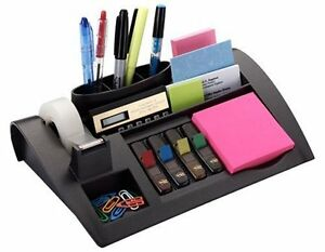 Desktop Organizer Sticknotes Pencils Note Pad Clips Holder Rack Container New