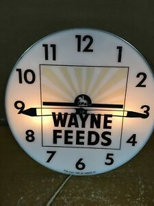 Vintage Lighted Pam Advertising Wayne Feeds Clock