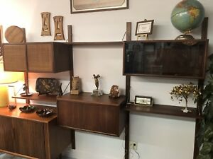 Mid Century Modern Wall Unit Inspired By Poul Cadivius For Cado
