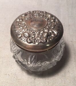 La Pierre Antique Art Nouveau Floral Sterling Silver Cut Glass Vanity Jar