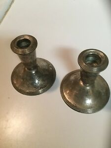 Antique Pair Of Newport Sterling Silver Candle Holders 17213