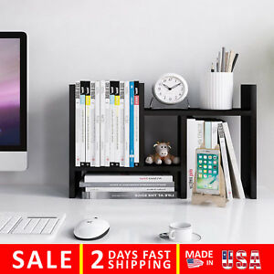 Desktop Offsurface Shelves Organizer Office Storage Rack Adjustable Wood H