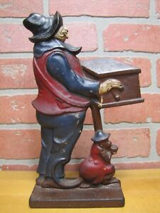 Antique Organ Grinder Monkey Cast Iron Figural Doorstop Decorative Art Statue