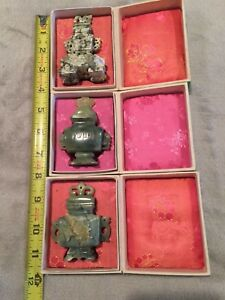 Vintage 3 Jade Hand Carved Chinese Incense Burner Jars