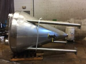 500 Gallon Dome Top Stainless Steel Conical Bin Hopper 6 Tri clamp Discharge