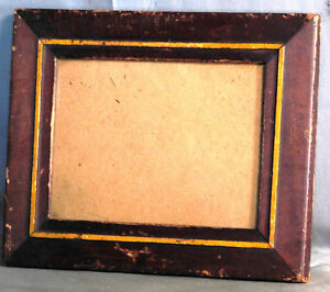 Antique Folk Art Red Yellow American Country Picture Frame Primitive 6x8 Glass