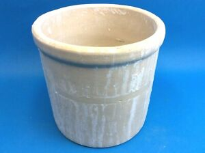 Vintage Used White Pottery Stoneware Crock Medium Sized Container Old Planter