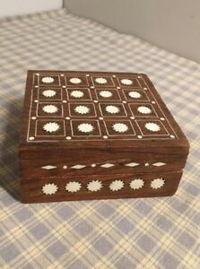 Vintage Hinged Carved Wood Trinket Box Shell Inlay Hand Carved Sarna India 4 X4