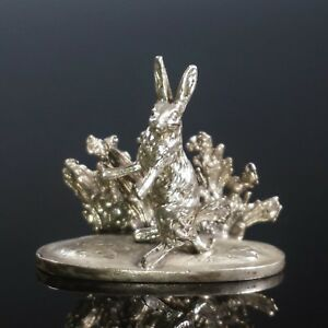 Antique Marked 925 Sterling Silver Rabbit Menu Place Card Holder