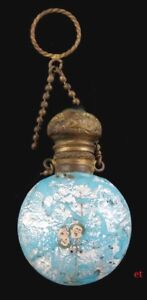 Rare Antique Murano Italian Glass Bronze Perfume Or Scent Bottle