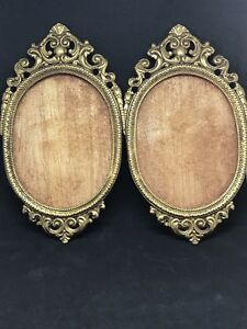Vintage Pair Brass Ornate Picture Photo Frame 4 5 X 3 25
