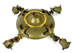 Antique Brass Metal 4 Light Fixture Ceiling Lamp Hanging Architectural Salvage