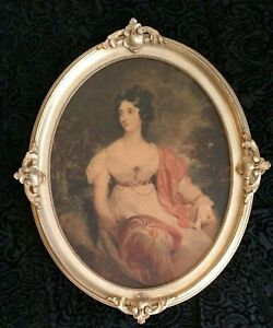 Antique Vintage Lage Woman Mid 1800 S Picture With Large Gold Frame
