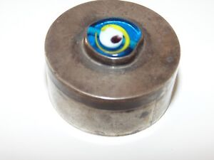 Antique Old Small Vintage Sterling Silver Glass Eye Art Trinket Pill Box 925