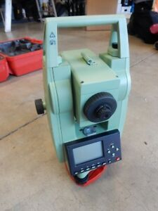 Leica Tcr307 Total Station For Surveying W New Battery Charger Tripod Prism