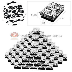 100 Damask Print Gift Jewelry Cotton Filled Boxes 3 1 4 X 2 1 4 X 1 Bracelets