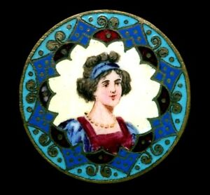 Antique Button Exquisite Large Emaux Peints Champleve Enamel Woman
