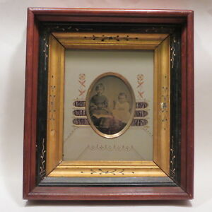 Antique Victorian Eastlake Deep Picture Frame Satin Inlets Mat