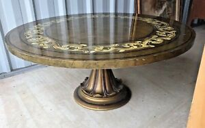 Vintage Antique Hollywood Regency Paint Decorated Coffee Table