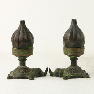 Collectibles A Pair Of Chinese Antique Bronze Statue Carved Lotus