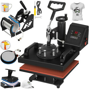 5 In 1 Heat Press Machine For T shirts 12 x10 Combo Kit Sublimation Swing Away