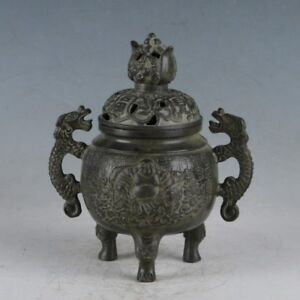 Chinese Rare Bronze Dragon Buddha Incense Burner Made During Qianlong Period
