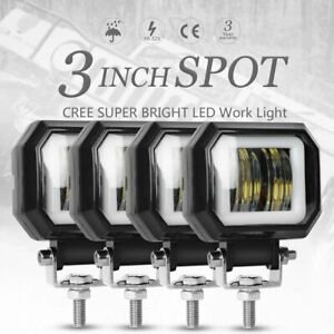 4x 3inch 20w Cree Led Spot Square Work Lights Driving Pod Offroad Motorcycle Atv
