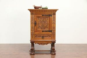 Carved Oak Scandinavian Antique 33 China Or Library Cabinet 30029