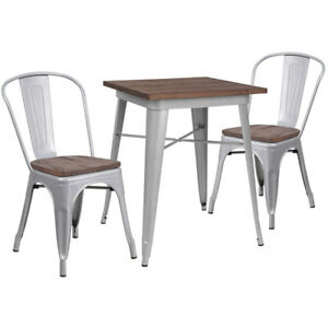 23 5 Square Silver Metal Table Set With Wood Top And 2 Stack Chairs
