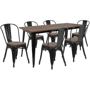 30 25 X 60 Black Metal Table Set With Wood Top And 6 Stack Chairs