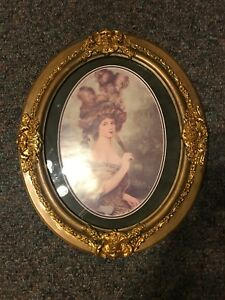 Large Ornate Frame Picture Of Victorian Woman 25x21
