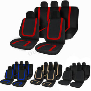 9 Parts Universal Full Set Car Seat Covers For Sedan Truck Front Rear 5 Heads