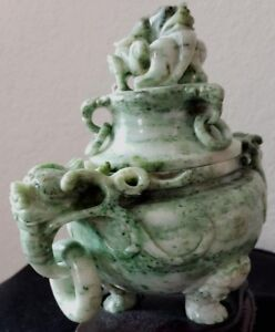 Antique Jade Chinese Incense Burner With Lid And Rings