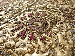 Antique Turkish Ottoman Dense Metallic Embroidery Silk Tablecloth 30