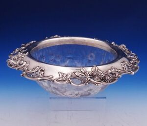 Blackberry By Tiffany And Co Sterling Silver Fruit Bowl W Cut Glass Leaves 3088
