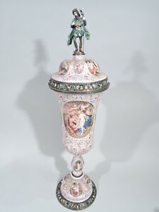 Antique Covered Cup Tall Classical Viennese Enamel Silver Karl R Ssler