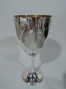 Victorian Goblet Antique Tall Flowers Foliage English Sterling Silver 1884