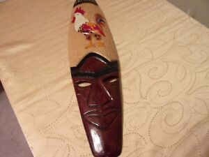 Jamaican Hand Carved Wooden Mask Folk Art