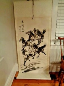 Chinese Hanging Scroll 8 Running Horses Silk Paper Ink Xu Beihong 29 X 68