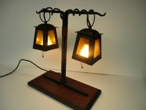 Arts Crafts Lantern Frame Table Lamp Hammered Copper Iron Manner Of Stickley