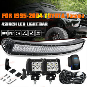 For 1995 2004 Toyota Tacoma 240w Curved Led Light Bar Upper Roof Windshield