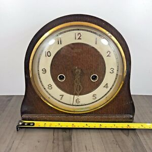 Authentic Vintage Smiths Mantle Clock Good Condition And Working Order Needs Key