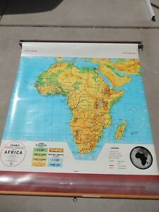 Cram Physical Political Africa Classroom School Wall Pull Down Map 50 X 50